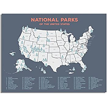 Amazon.com: Kindred Sol Collective USA National Parks Map - Plan ...