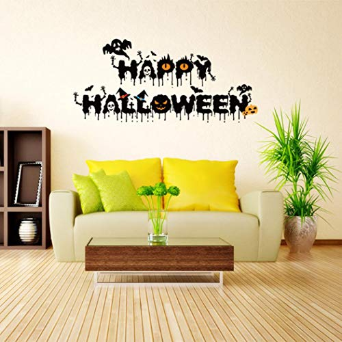 MIARHB Wall Stickers 3D Wall Sticker Halloween Letter Printed Devil Decor Decals Removable Vinyl Stickers Living Room Home Decor Kids Room (36.6 × 16.5 Inch, Black) for $<!--$1.89-->