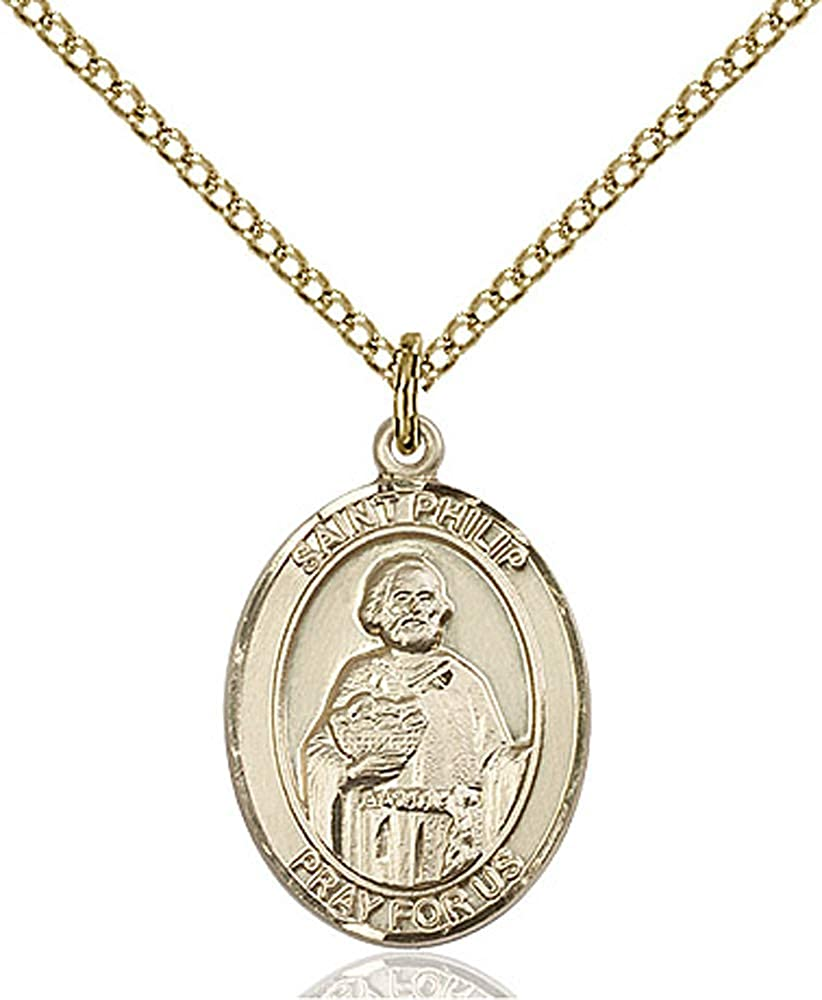 Gold Filled Lite Curb Chain Patron Saint Hatters//Pastry Chefs 3//4 x 1//2 Philip the Apostle Pendant 14kt Gold Filled St