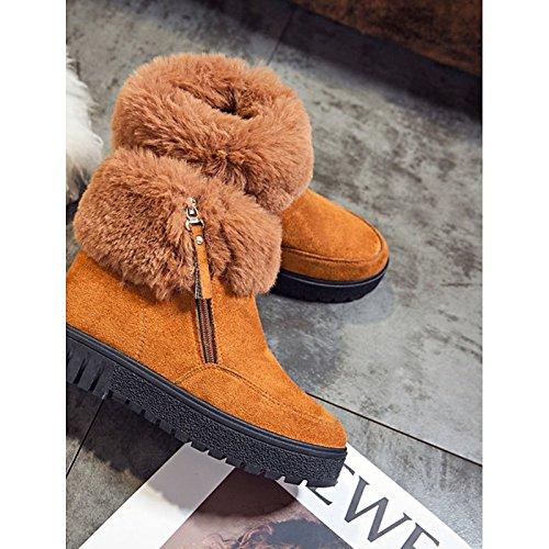 Damenschuhe Nubukleder PU Wildleder Winter Komfort fallen Komfort Winter Mode Stiefel Absatz Runder für Casual Armee Grün Orange Schwarz schwarz c55b09