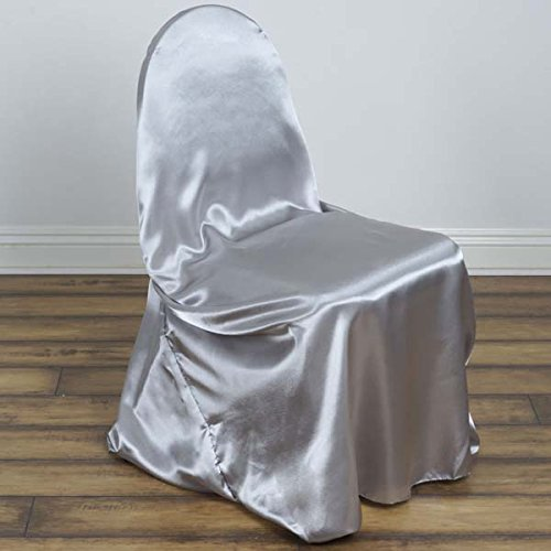 Efavormart Silver Silky Satin Universal Chair Covers Fits All Type of Chairs Event Dinning Slipcover for Wedding Party Banquet