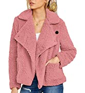 ROYLAMP Women's Oversized Lapel Teddy Coat Open Front Side Button Shearling Fleece Fuzzy Faux Out...