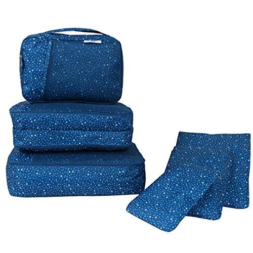 Clothes Travel Luggage Organizer Pouch (Dark Blue) Set of 6 - 3