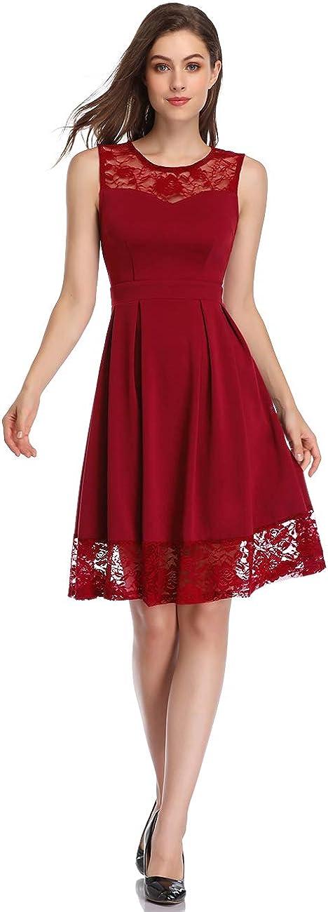 abito da cocktail lunghezza al ginocchio Senza maniche S KOJOOIN Vestito da donna elegante in pizzo vestito da sera per matrimonio abito da damigella donore