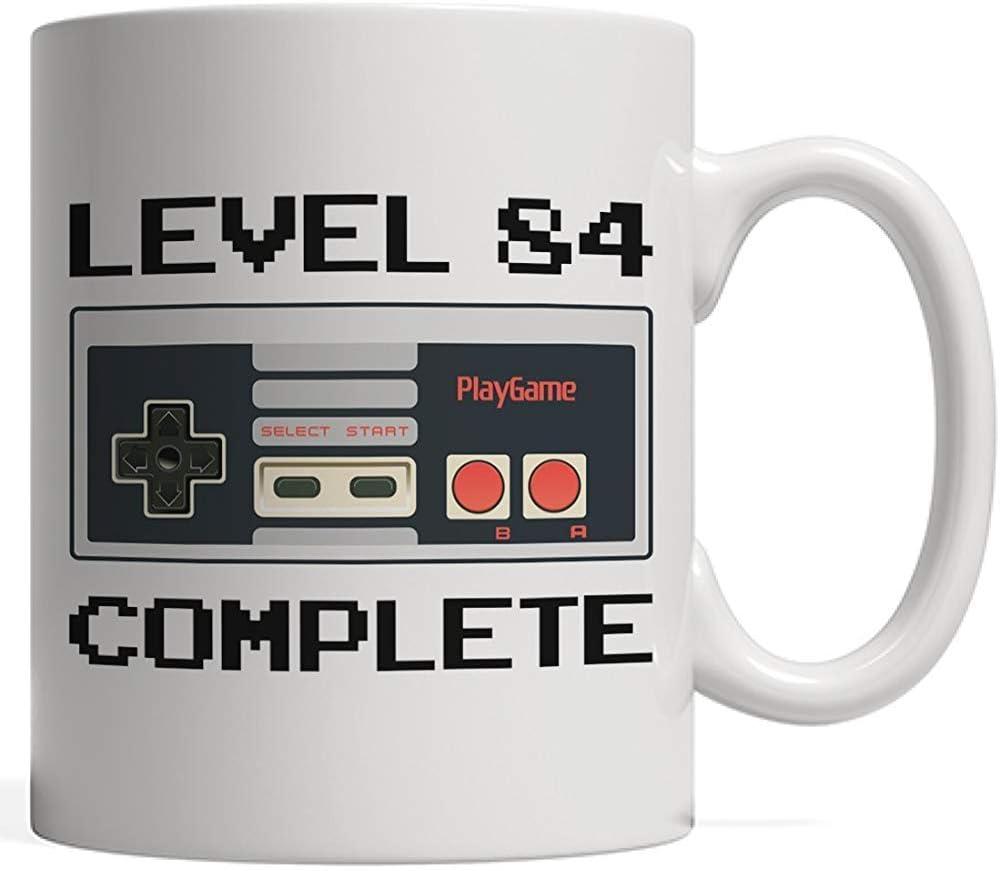 Taza de porcelana nivel 84 completa, taza de cumpleaños de jugador | Aniversario del controlador de videojuegos Lover - Ochenta y cuatro 84 años de regalo de cumpleaños para adultos, abuela abuelo