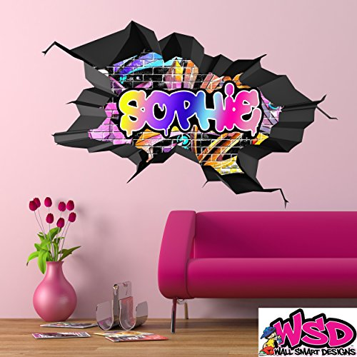 Custom 3D Multi Color Graffiti Personalized Name Cracked Brick Effect Wall Art Sticker Decal With Grey Border For Teenagers Girls and Boys WSDPGN109