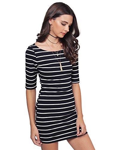 Buy black 3/4 sleeve boat neck dress - 3