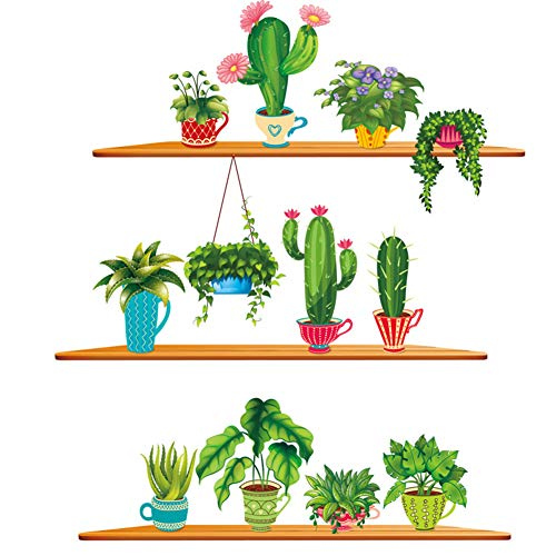 Youyouyu Cactus Wall Decal Green Plants Wall Sticker Tropical DIY Novelty Wall Art Mural for Bedroom Window Home Decoration (B Cactus)