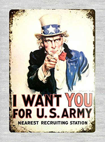 DYTrade Tin Metal Sign 16 x 12 - I Want You for U.S. Army Uncle Sam tin Metal Sign Fish Wall Art