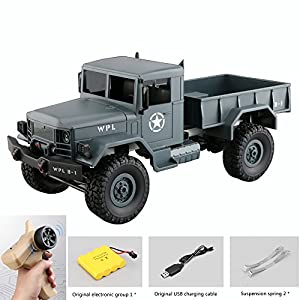 Remote Control Car, Terrain RC Cars, Electric Remote Control Off Road military Truck, 1:16Scale 2.4Ghz Radio 4WD RC Car, with Rechargeable Batteries