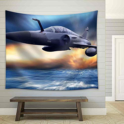 Military Airplan on the Speed Fabric Wall Tapestry