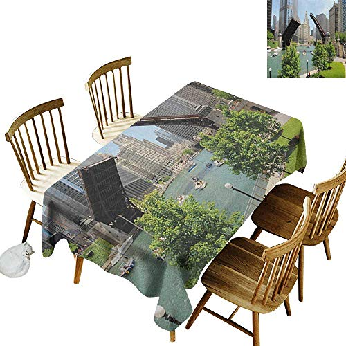 kangkaishi Rectangular tablecloths in a Variety of Colors and Sizes Can be Used for Parties Downtown Chicago Illinois Finance Business Center Lake Michigan Avenue Bridge W60 x L84 Inch -