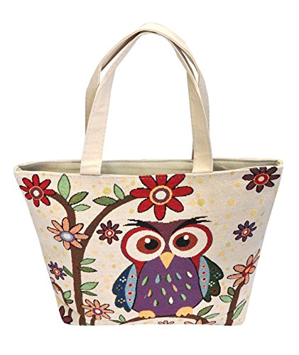 Eulentasche Shopper Eule Eulen 1 Fach und Reißverschluss ***verschiedene Motive erhältlich*** Eulenmotiv Umhängetasche Strandtasche - VINTAGE LOOK / absolut cool und stylish - 42284
