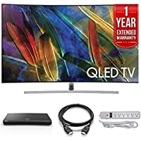 Electronics QN65Q7C Curved 65-Inch 4K Ultra HD Smart QLED TV (2017 Model) - Bundle Includes BLU-RAY UBD-M9500 UHD DVD Player, 1 Year Extended Warranty, 4K HDMI 2.0 Cable, Surge Protector