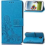 """Samsung I9500 Galaxy S4(5.0"""")case,I9500 case,Bujing Blue Pattern Synthetic Leather+Soft TPU Printing Stand Card Slot Wallet Case Only For Samsung I9500 Galaxy S4(5.0"""")(2013)"""