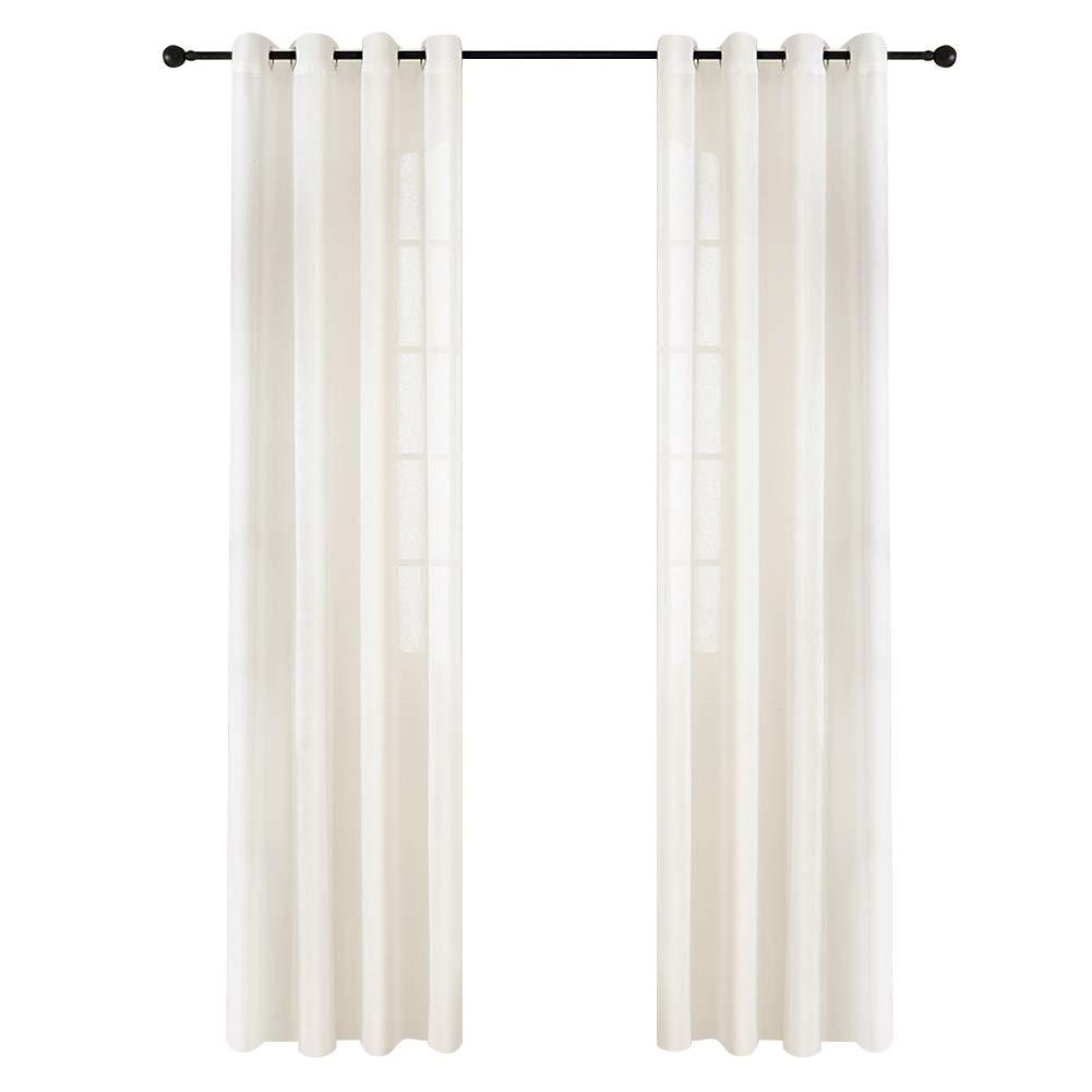 Top Finel Tende Voile Pure Lino Tenda Drappeggio con Occhielli per Casa 140 x 160 cm 2 Pezzi, Celeste