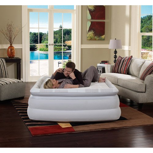 Luxurious Memory Foam Queen Air Bed Mattress Pillowtop with Built-in Pump and Carry bag