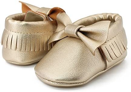 OOSAKU Infant Toddler Baby Soft Sole PU Leather Bowknots Shoes