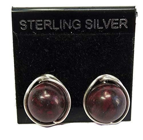 Red Jasper and Sterling Silver Herringbone-Topped Wire-Wrapped Post Earrings