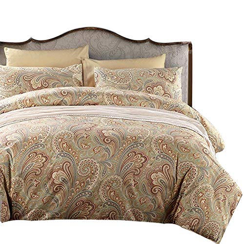 SexyTown Egyptian Cotton Duvet Cover Set Gold Classy Paisley Regal Themed Bedding Set Super Soft King Pattern A