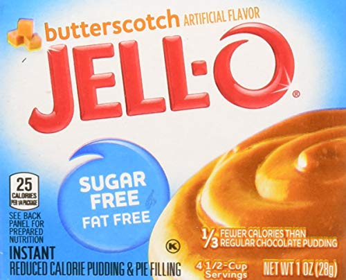 - JELL-O Butterscotch Sugar Free Fat Free Instant Pudding & Pie Filling Mix (1 oz Boxes, Pack of 24)