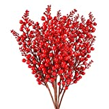 FUNARTY - Lote de 5 tallos artificiales de bayas rojas para decoración de Navidad