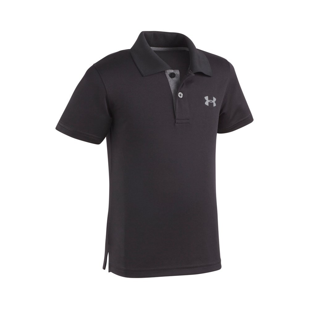 Under Armour Little Boys' Ua Logo Short Sleeve Polo, Black, 6 by Under Armour