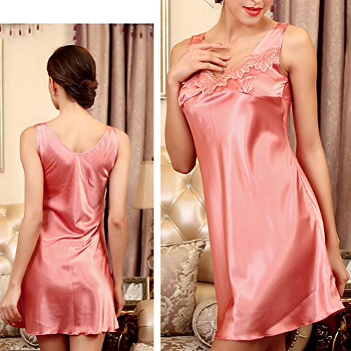 Zhhlaixing Fashion SQ118 Women's Lingerie Satin Chemise Strap Nightgowns Sleepshirts Pink