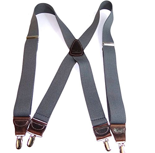 "Hold-Ups Slate Gray Suspenders 1 1/2"" wide in X-back No-slip Silver Clips"