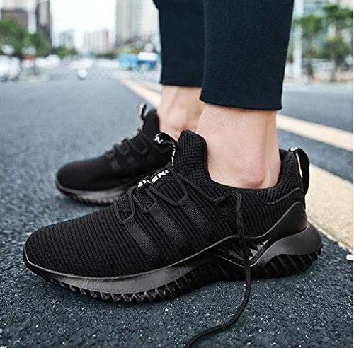 NEOKER Mens Mesh Running Trainers Trail Breathable Lightweight Fitness Sneakers Sport Outdoor Run Shoes Black Red Grey 6-11 UK Black cQfpAJ5P