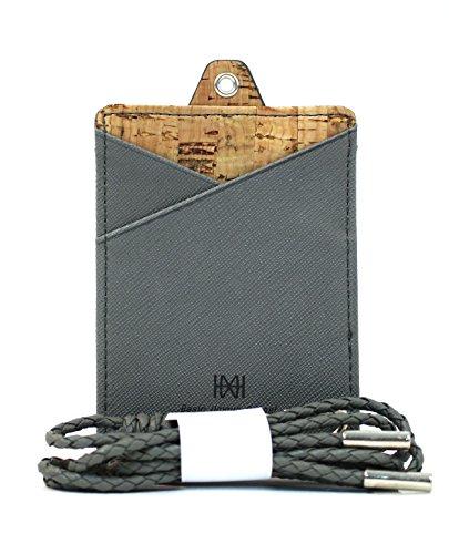 Snappi Color Leather ID and Business Neck Card Holder Band (credit wallet) - Vertical (C Gray) (Gabbana Designer Belts)