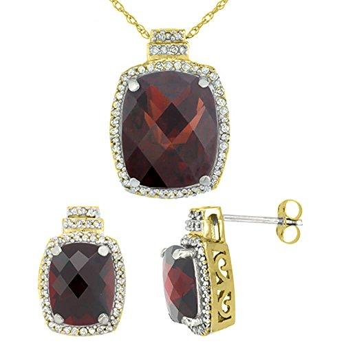 Jewellery World Bague en or jaune 9carats Diamant naturel octogone Grenat Boucles d'oreilles et pendentif de coussin Accents