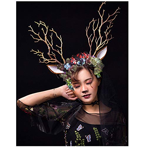 sd finger Christmas Fairy & Witch Tree Branches Antlers Headband Deer Ears Elf Flower Headwear Forest Photography Cosplay Halloween Easter Party Costume Accessory Headpiece]()