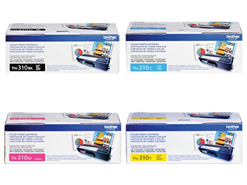 Brother TN310BK, TN310C, TN310M, TN310Y (TN-310BK, TN-310C, TN-310M, TN-310Y) Black, Cyan, Magenta and Yellow Toner Cartridge Set ()