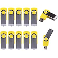 LHN® (Bulk 10 Pack) 16GB Swivel USB Flash Drive USB 2.0 Memory Stick (Yellow)