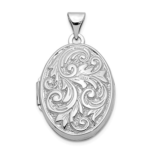 (14k White Gold Reversible Love You Always Oval Photo Pendant Charm Locket Chain Necklace That Holds Pictures Fine Jewelry For Women Gift Set)