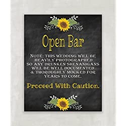 Open Bar Sign for Wedding Reception Rustic Style Chalkboard Inspired - 8x10