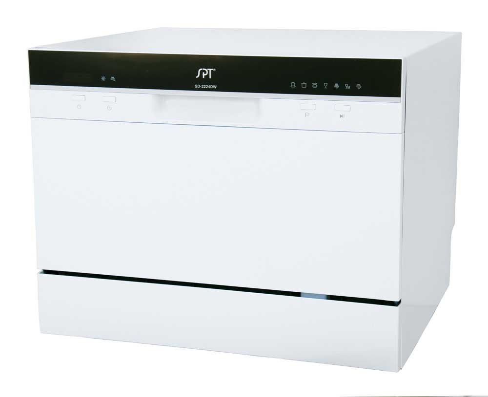 SPT SD-2224DW Countertop Dishwasher with Delay Start & LED, White Sunpentown