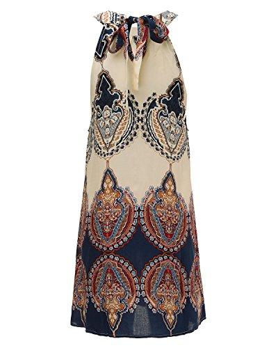 Mujeres ZANZEA Casual Escote Estampado Étnico Camiseta Floral Mangas Corto Elegante Vestido Halter Tribal sin Hd4pxwqd