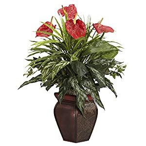 MARJON Flowers Mixed Greens and Anthurium with Vase Decorative Silk Plant, Green 77