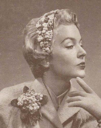 (Violet Hatlette & Boutonniere Crochet Hat Corsage)