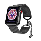 GELISHI Apple Watch Bands Women, Fashion Cuff Stainless Steel iWatch Milanese Replacement Strap Wristbands for Apple Watch Series 3, Series 2, Series 1, Nike+ Sport and Edition - Black