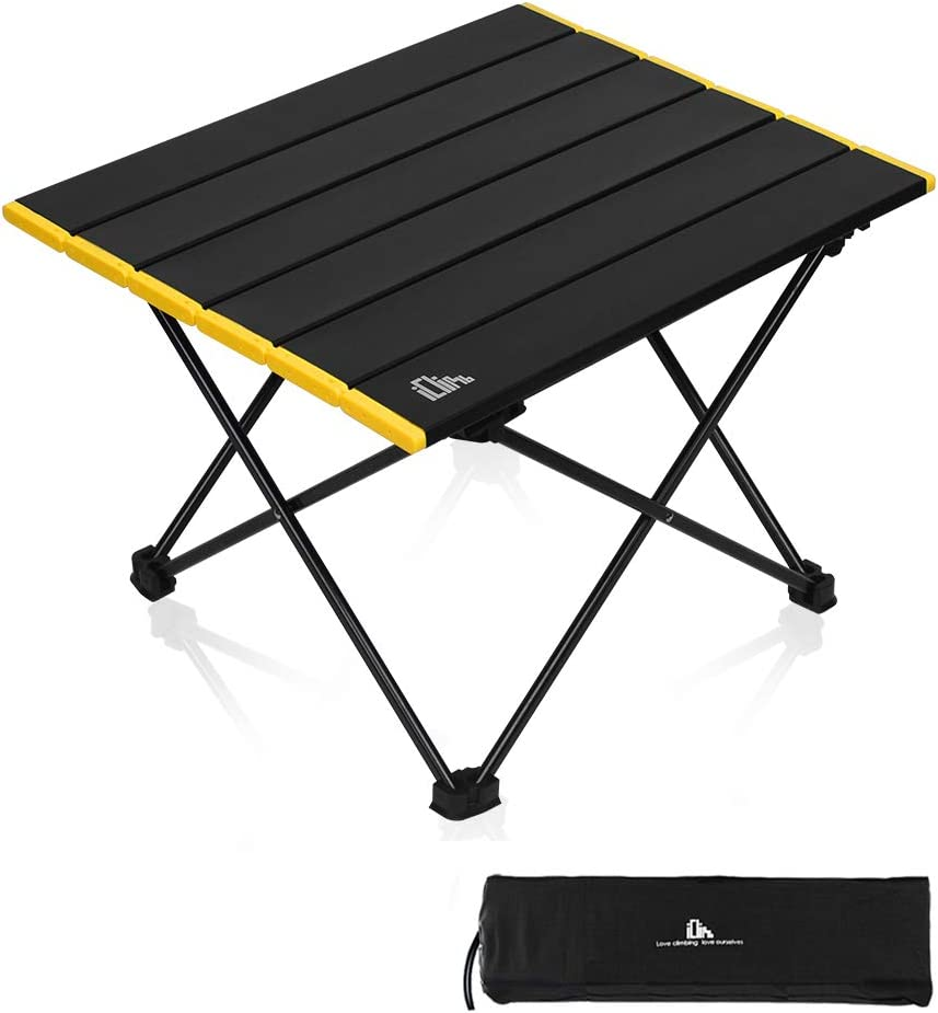 iClimb Ultralight Compact Camping Folding Table with Carry Bag, Two Size (Black - S)