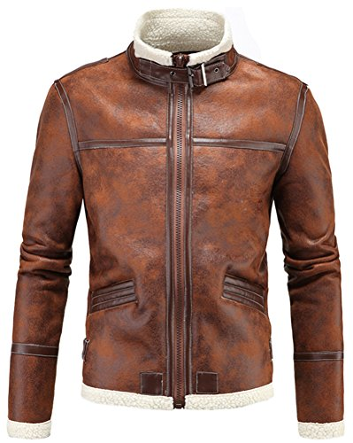 LANBAOSI Leather Fur Jacket Men's Brown Faux Leather Jackets