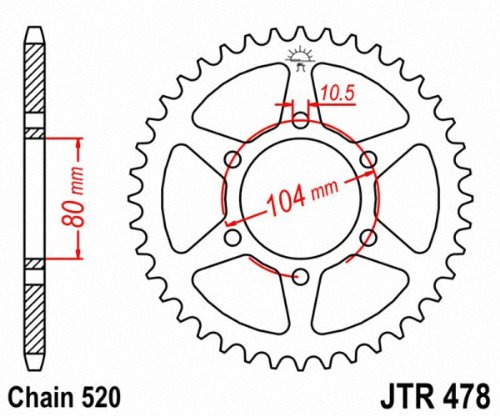 JT Sprockets JTA478.44 44T Aluminum Rear Sprocket