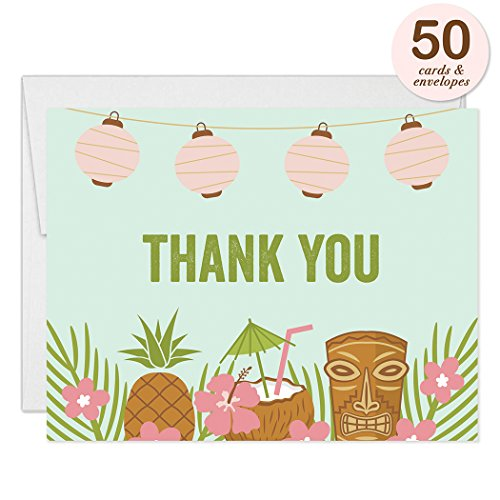Luau Thank You Cards with Envelopes ( Pack of 50 ) Graduation, Birthday Thank You Notes Excellent Value Tiki Notecards (Free Island Tiki Bar)