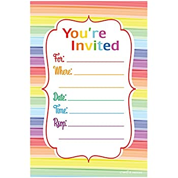 Amazoncom Colorful Rainbow Party Invitations Fill In Style 20