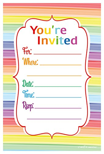 Colorful Rainbow Party Invitations - Fill In Style