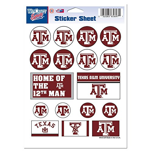 Wincraft NCAA Texas A&M University Vinyl Sticker Sheet, 5