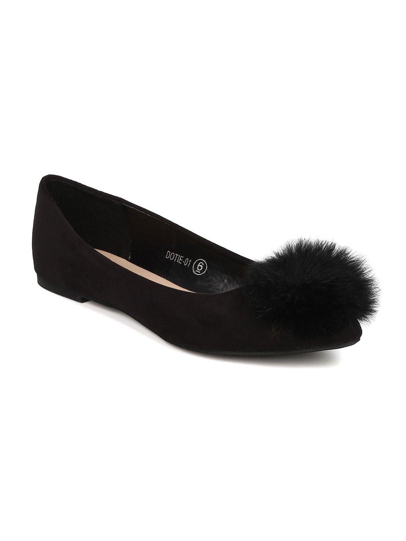 Alrisco Women Faux Suede Pointy Toe Pom Pom Ballet Flat GI42 B071CTNP2X 6 B(M) US|Black Faux Suede